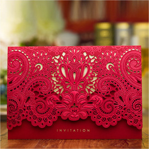 Luxury Wedding Invitations 2017 Red Gold Laser Cut Bridal Shower Invitation Cards with Envelope Wedding Supplies