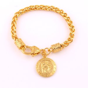 St Christopher Protect Chain Us Золотой медаль Цвет Пшеничной Ссылка Браслет Подвеска католической Защита Религиозный Charm Оптовый