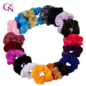 Toptan Kadınlar Zarif Kadife Katı Elastik Saç Bantları at kuyruğu Tutucu Scrunchies Tie Saç Rubber Band Kafa Lady Saç Aksesuarları