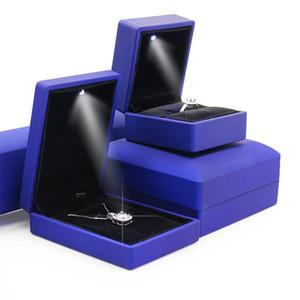 DIODO EMISSOR de Luz Caixa De Jóias Luminosa Caixas De Anel Atacado Caixa De Exibição Organizador De Jóias De Casamento Favor de Festa Presente Do Dia Dos Namorados