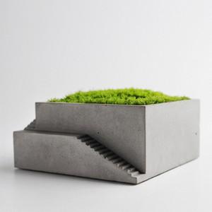 Nuevo Molde de Silicona para Maceta Cuadrada Edificio con Escaleras de Hormigón Molde de Moss Bonsai Placa de Cemento Herramienta de Decoración Del Hogar