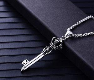 heiße neue Edelstahl Schmuck Männer Krone Schlüssel Anhänger Persönlichkeit Retro Titan Stahl Chainer Pullover Kette Anhänger Mode Umsatz