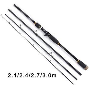 TOMA 2.1m 2.4m 2.7m 3.0m 100% 100% de fibra de carbono Varilla giratoria Cañas de pescar Casting Travel Rod 4 Secciones Acción rápida Pesca señuelo varilla