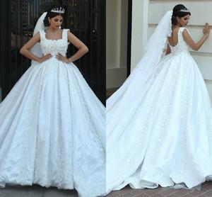Nuevo escote cuadrado de encaje 3D Apliques Una línea Vestidos de novia 2018 Árabe a medida Zipper Back Sweep Train vestidos de novia