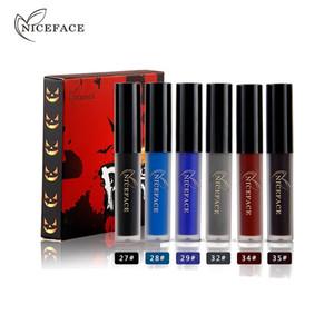 Niceface 6 teile / los Schädel Stil Halloween Wasserdicht Matte Metallic Lippenstift langlebige Flüssige Schönheit Lippen Make-Up Kosmetische Glanz