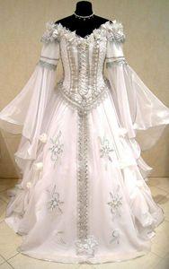 Mittelalterliche Hochzeitskleid Hexe CELTIC Tudor Renaissance Kostüm Victorian gotischen Lotr Larp Handfasting Wicca Narnia heidnischen Hochzeitskleid