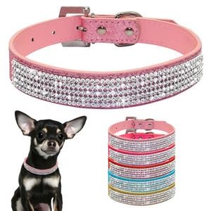 Bling Diamante Strass En Cuir PU Chat Collier De Chien Rose Pour Petit Chien De Taille Moyenne Chihuahua Yorkie 5 Couleurs Taille XS S M L
