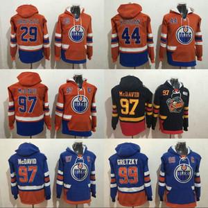 Edmonton Oilers Hoodie 97 Connor McDavid 29 Leon Draisaitl 44 Zack Kassian 99 Wayne Gretzky Kapüşonlu Kazak Hokeyi Formaları
