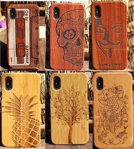 Date Populaire Bois Gravure Cas de Téléphone Pour Iphone X 10 6 6S 7 8 plus 5 5s SE Naturel Total Bambou En Bois Dur Cas Couverture Pour Samsung S9