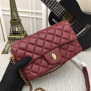 Lingge سلسلة حقيبة رفرف المرأة العلامة التجارية حقيبة جلدية حقيقية رفرف pockage حقيبة crossbody للسيدات 21 * 14 * 7cm
