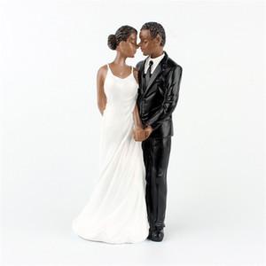 Bolo de Casamento Romântico Toppers Resina Sintética Resina Do Noivo Da Noiva Africano Americano Estatueta Do Casamento Decoração Suprimentos de Festa de Casamento
