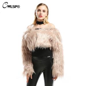 CWLSP Fashion Winter faux fur coat Women Warm Autumn Long Sleeve Short Jacket Female faux fur shawl abrigos mujer invierno 2018