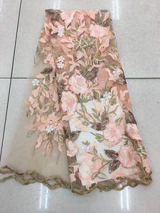 Livraison gratuite (5yards / pc) haute qualité africain tulle dentelle tissu paillettes français net dentelle tissu nouveau desgin pour robe de soirée