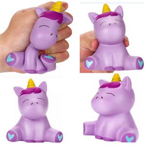 Kawaii PU Púrpura Unicornio Squishy Suave Jumbo Niños Juguete Crecimiento Lento Simulación Descompresión Squeeze Home Decorativo WX9-546