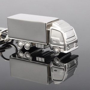 500pcs Cool Creative Fashion container truck Metal Keychain Ring Keyring Key Chain Ring Silver Fob Funny Gift Promotion lin2244