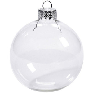 Wedding Bauble Ornaments Christmas Xmas Glass Balls Decoration 80mm Christmas Balls Clear Glass Wedding balls 3