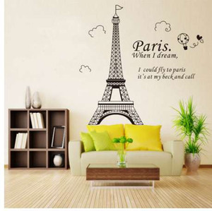 Kostenloser Versand Romantische Paris Eiffelturm Schöne Ansicht von Frankreich DIY Wandaufkleber WallpaperArt Dekor Wand Zimmer Aufkleber