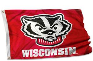 150 cm * 90 cm University of Wisconsin Badgers Flagge UW Bucky Flag Banner 3 * 5FT Polyester Benutzerdefinierte Hanging Home Dekorative