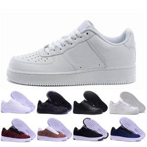 2018 новые классические Мужчины Женщины все белый черный низкий высокий 1 один спортивные кроссовки воздушной подушке конька спортивная обувь EUR SZ36-45