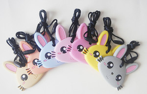 Cute Bunny Shape Pendant Necklace Silicone Teethers Colorful Rabbit Dentición Juguete Baby Chew Nursing Necklace BPA Free Safe Pendant Mordedores