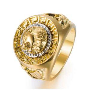 Золотые цвета классический мужской стиль панк хип-хоп кольцо прохладный Лев руководитель группы Золотое кольцо ювелирные изделия