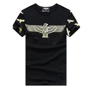 2018 Eagle Hawk Drucken Polo berühmte Marke T-Shirts junge Moda Camisas de T Shirt Männer maßgeschneiderte Shorts Hülse Baumwolle Icy Porzellan Oyster