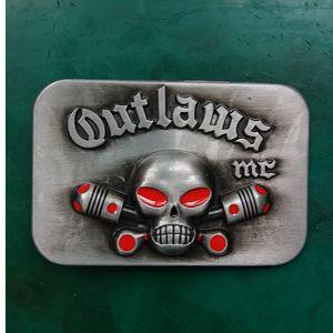 1 Pz Hebillas Cinturon Outlaws MC Skull da uomo Western Cowboy Belt Buckle Fit 4 cm Wide Jeans Cinture
