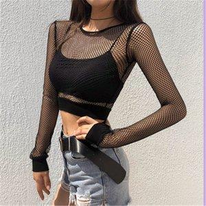 New Mesh évider courte perspective T-shirt à manches longues 2018 été mode sexy femmes