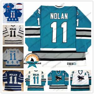 San Jose Sharks # 11 Owen Nolan Maillot Vintage All Star CCM Vintage 1997 Retro Vert Turquoise Blanc Nordiques du Québec Toronto Maple Leafs Bleu S-4XL