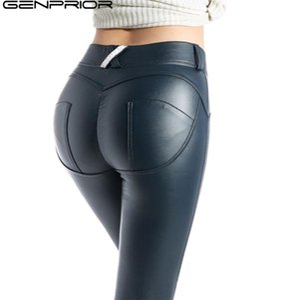 GENPRIOR Pfirsich Push Up Hip Skinny Leggings Lederhosen Frauen PU Hohe Elastische Fitness Legging Übung Hosen Zeichnen Hosen