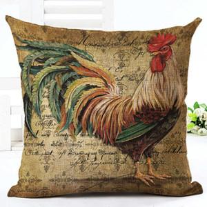 Casi Sig. Gallo Gallina Cuscino Cafe Country Kitchen o un'immagine in lino Pillow 45X45cm Camera della decorazione del sofà