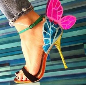 2018 Gorgeous Colorful Butterfly Stiletto Tacones altos Sandalias zapatos Punta abierta Sexy Moda bombas Zapatos Alas de ángel Zapatos de cuero