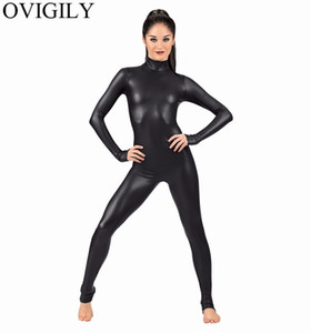 OVIGILY Mujeres Spandex Metallic Unitard Catsuit Adultos Lycra Lycra de manga larga Unitards Bodysuits Skin Black Tight Female Costume