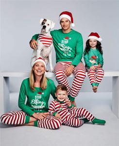 Noel Noel Pijama Aile Eşleştirme Giyim Çocuk Pijama Kız Erkek Iç Çamaşırı Toddler Çocuklar Kırmızı Yeşil Şerit Pijama Bebek Geceleri