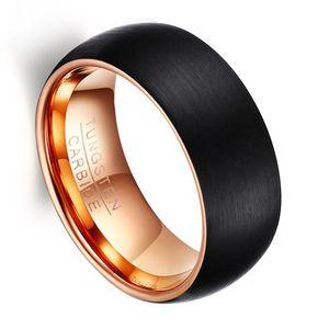 Bague en carbure de tungstène 8mm brossé noir bague bombée en tungstène bague intérieure en or rose bague pour femme