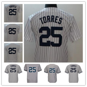 Hot Sale Gleyber Torres Baseball Jerseys White Home Gray Road Pinstripe #25 Gleyber Torres New York Jersey Stitched 2018 Cool Base Flexbase
