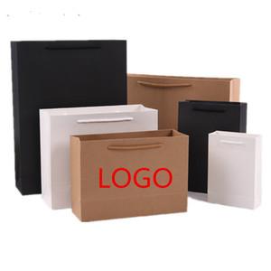 (Logo Baskı kabul ADEDI 50 adet) Beyaz Kağıt Alışveriş çantaları, kolları ile renkli kraft kağıt torbalar