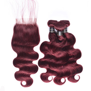 Siyuis Hair Products Bundles brésiliens Body Wave avec fermeture 99jack Red Bundles avec fermeture