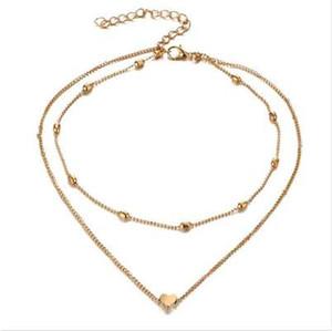 RscvonM Stella Doppelhorn Anhänger Herz Halskette Gold Dot LUNA Halskette Frauen Phase Herz-Halskette Tropfen Verschiffen