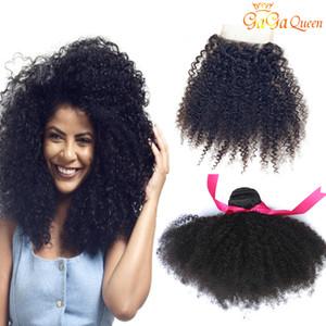 Brazilian Afro verworrenes lockiges Haar-Bundles Mit Closure Rohboden Afro verworren lockig mit 4x4-Spitze-Schliessen-brasilianischer Menschenhaar-Verlängerungs-A