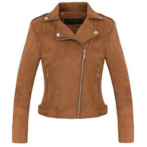 Yeni Moda Kadın süet motosiklet ceket Ince kahverengi tam astarlı yumuşak suni Deri kadın ceket veste femme cuir epaulet fermuar