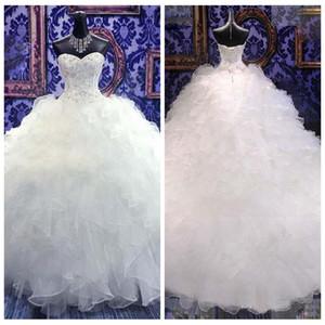 2018 Sweetheart vestido de fiesta con cuentas bordado vestido de novia Princesa vestido corsé organza catedral iglesia gradas vestidos de novia