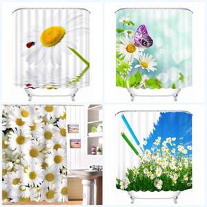 Flores hermosas personalizadas cortinas de ducha tela baño moderno decoración del baño Paño cortina a prueba de agua extraíble impresión digital 32be ff