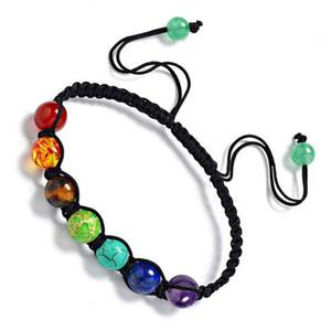 2018 nuovo 7 colorato perline di pietra naturale braccialetto di cristallo chakra intrecciato braccialetti di corda gioielli delle donne accessori di alta qualità regalo di festa