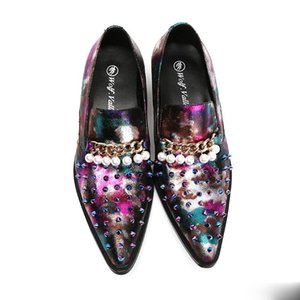 Fashion Designer Herren Schuhe Casual Colorblock Niet Sicke Hochzeit Schuhe Männer Loafers Leder