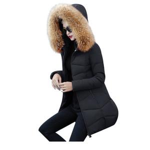 Chaqueta de invierno Las mujeres Parka Cuello de piel falsa Abajo Wadded Chaqueta prendas de vestir exteriores de algodón Chaquetas acolchadas Mujeres Abrigo de invierno