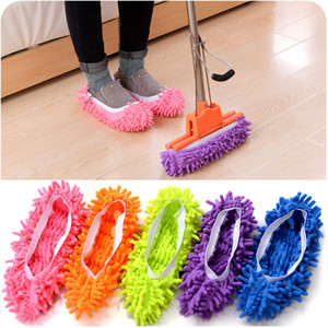 Housses de chaussures Mop Cleaner poussière Maison Salle de bain Nettoyage sol Mop Slipper Chaussures Lazy Microfibre Cover