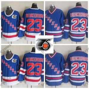 Vintage New York Rangers Jeff Beukeboom Hokeyi Formalar Erkek 75 1991-1992 Ucuz 23 Jeff Beukeboom Dikişli Hokey Gömlek M-XXXL