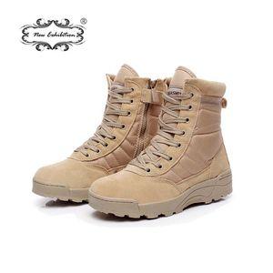 Yeni sergi askeri Çalışma çizmeler erkekler Çöl Taktik Martin ordu çizmeler Açık Yürüyüş Ayakkabıları Seyahat Deri Yüksek Çizme Male39-44