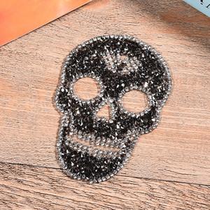 parches de calavera de rhinestone de hotfix motivos de hierro en parches apliques de cristal de strass para la decoración de prendas de vestir diy